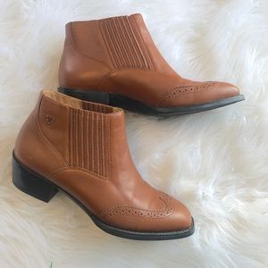 Ariat Shoes - Ariat Wingtip Leather Square Toe Booties